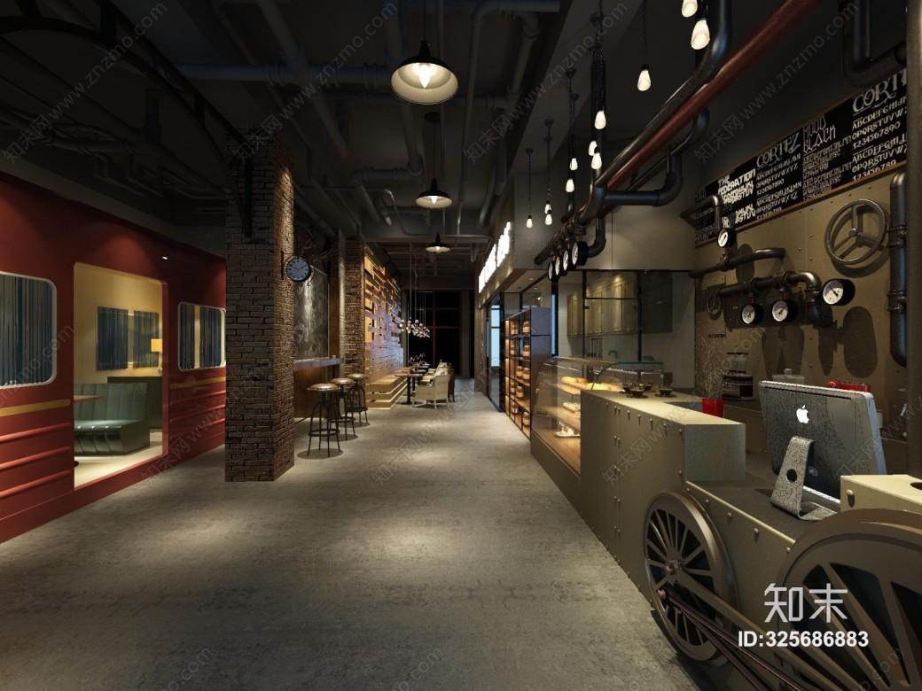 工业风奶茶店3D模型【ID:325686883】_知末3d模型网