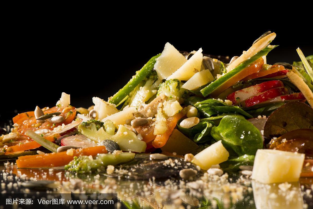 创造力,美味,沙拉,通心粉沙拉,胡萝卜,水平画幅,无人,膳食,西红柿,莴苣