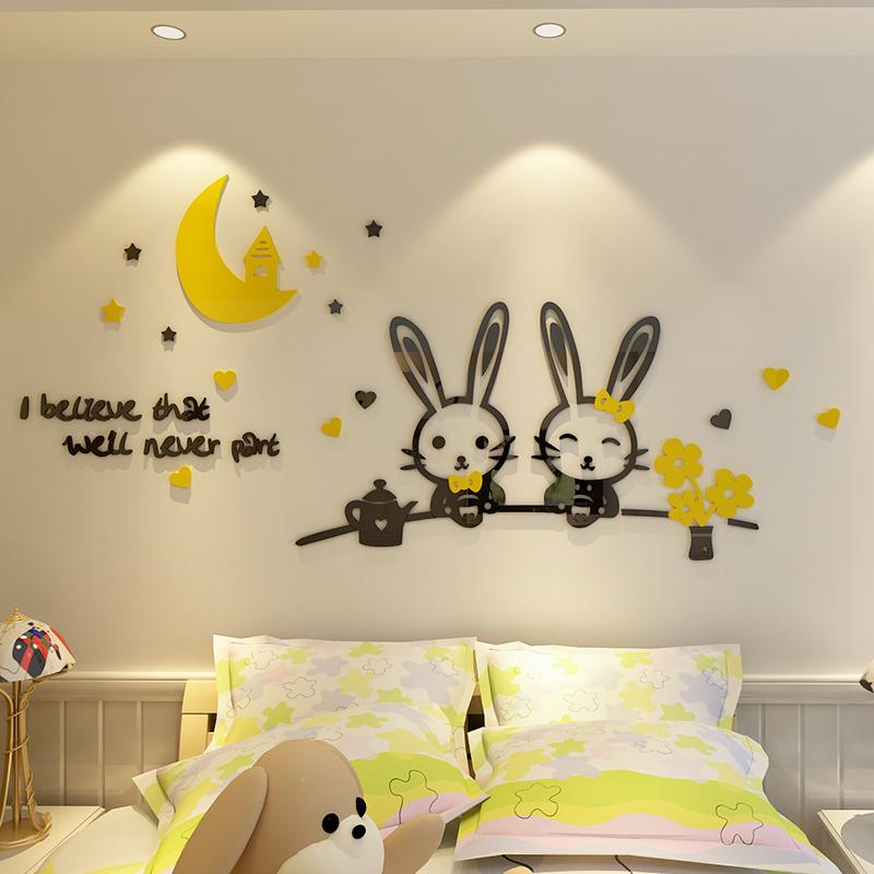 Acrylic DIY Removable Kids Room Home Decor Cartoon Rabbit Baby Wall Sticker 3D