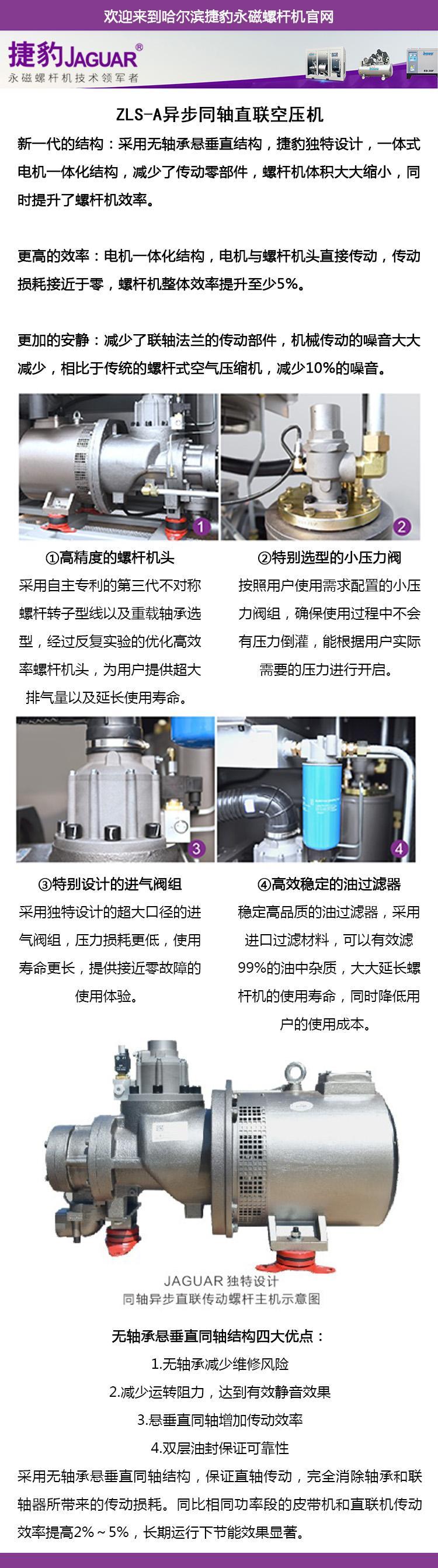 空气压缩机 哈尔滨空压机  异步同轴直联空压机 捷豹高效节能空压机